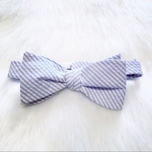 *HOLD* Blue and white seersucker bow tie